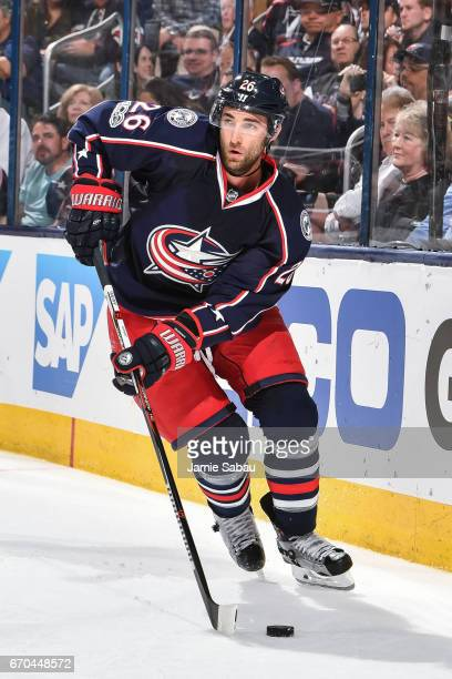 Kyle Quincey of the Columbus Blue Jackets skates against the Pittsburgh Penguins in Game Four of the Eastern Conference First Round during the 2017...