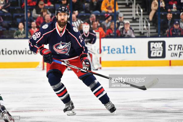 Kyle Quincey of the Columbus Blue Jackets skates during the first period of a game against the Minnesota Wild on March 2 2017 at Nationwide Arena in...