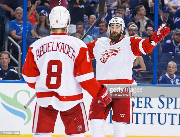 Kyle Quincey of the Detroit Red Wings celebrates a goal against the Tampa Bay Lightning during the second period of Game One of the Eastern...