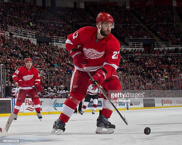Kyle Quincey of the Detroit Red Wings controls the puck during the annual New Year's eve game against the New Jersey Devils on December 31 2014 at...