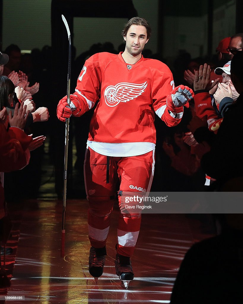 Kyle Quincey #27 of the Detroit Red Wings is introduced in pre-game ceramonies before an NHL game against the Dallas Stars at Joe Louis Arena on January 22, 2013 in Detroit, Michigan. Dallas won 2-1