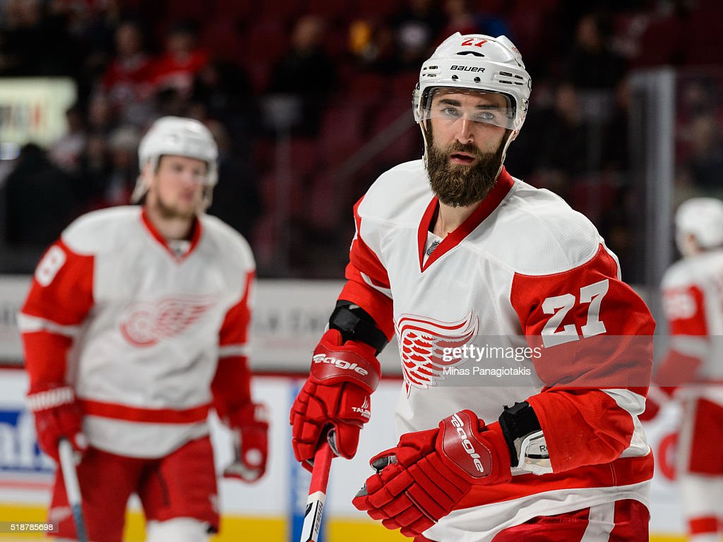 Kyle Quincey of the Detroit Red Wings looks on during the NHL game against the Montreal Canadiens at the Bell Centre on March 29 2016 in Montreal...