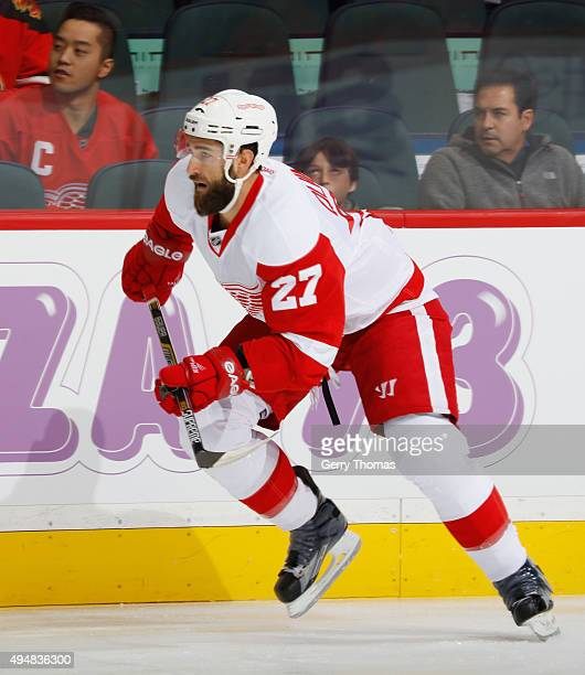 Kyle Quincey of the Detroit Red Wings skates against the Calgary Flames at Scotiabank Saddledome on October 23 2015 in Calgary Alberta Canada