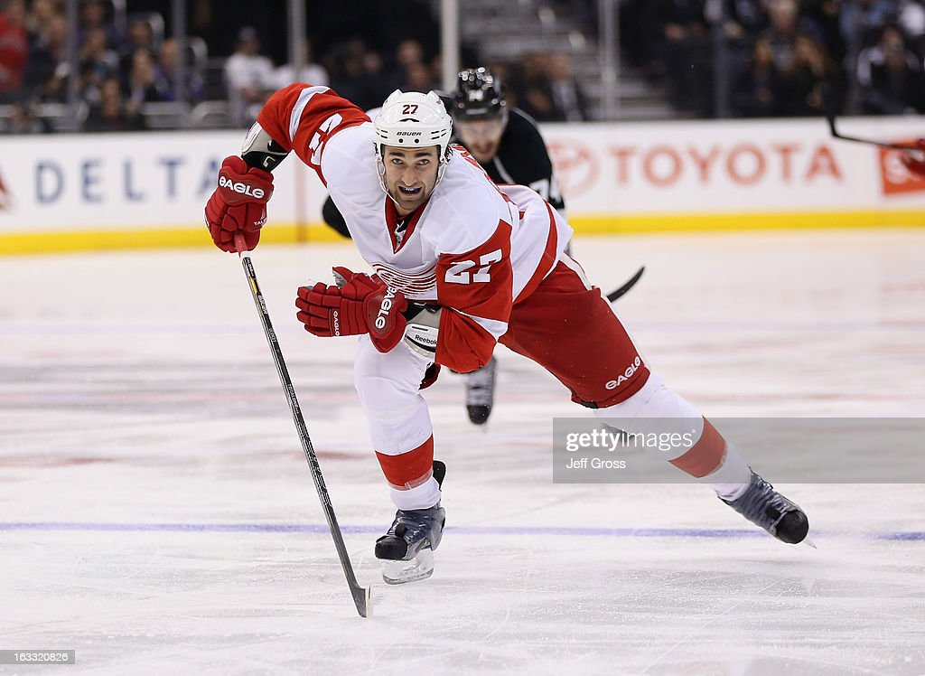 Kyle Quincey #27 of the Detroit Red Wings skates against the Los Angeles Kings at Staples Center on February 27, 2013 in Los Angeles, California.