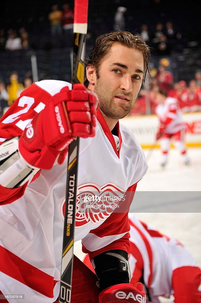 Kyle Quincey #27 of the Detroit Red Wings skates against the Nashville Predators at the Bridgestone Arena on February 19, 2013 in Nashville, Tennessee.