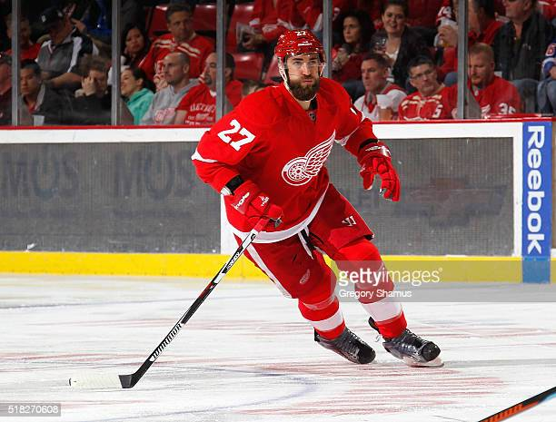Kyle Quincey of the Detroit Red Wings skates against the New York Rangers at Joe Louis Arena on March 12 2016 in Detroit Michigan