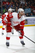 Kyle Quincey of the Detroit Red Wings skates against the San Jose Sharks at SAP Center on January 9 2014 in San Jose California