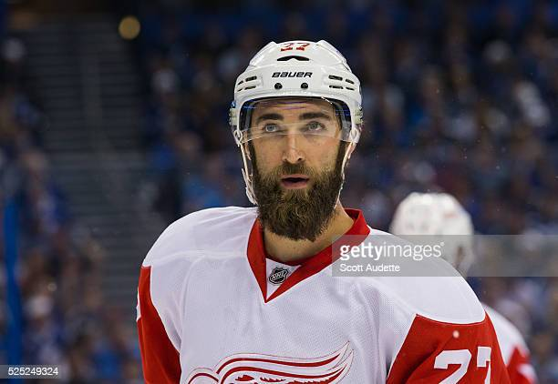 Kyle Quincey of the Detroit Red Wings skates against the Tampa Bay Lightning during Game Five of the Eastern Conference First Round in the 2016 NHL...