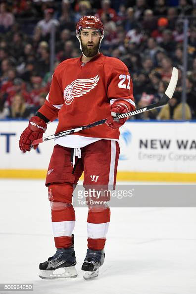 Kyle Quincey of the Detroit Red Wings skates around inbetween whistles during the game against the Buffalo Sabres on January 22 2016 at the First...
