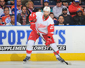 Kyle Quincey of the Detroit Red Wings skates during a game against the Edmonton Oilers on October 21 2015 at Rexall Place in Edmonton Alberta Canada