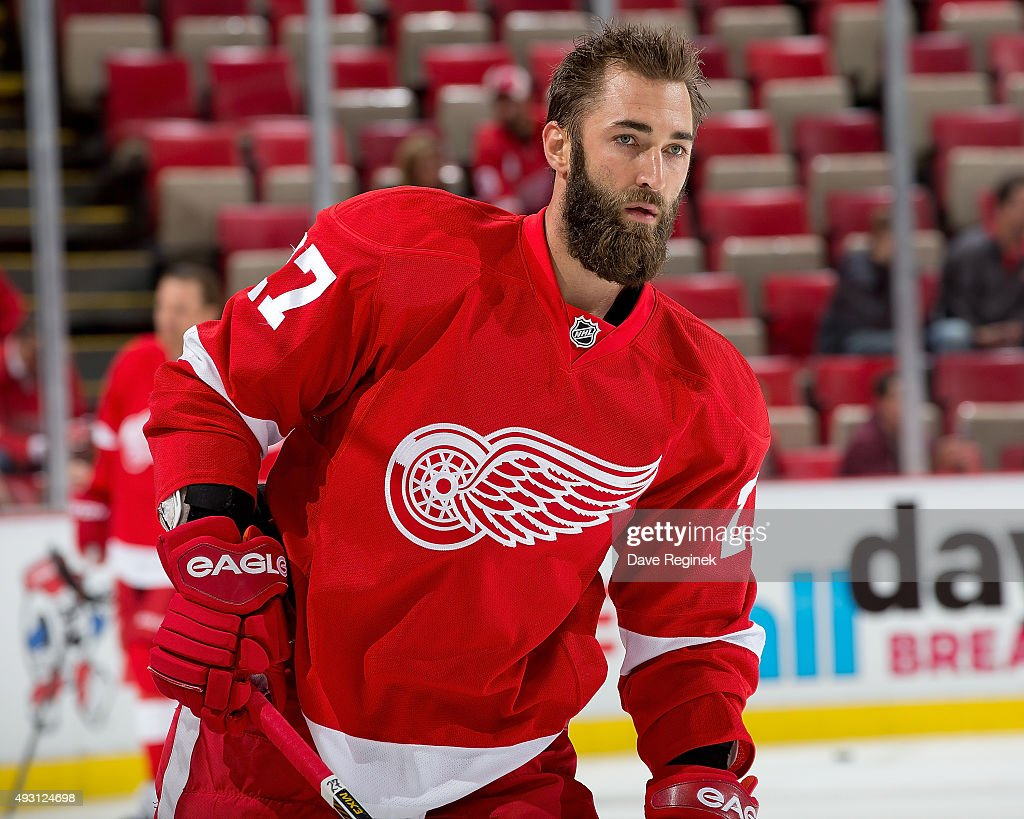 Kyle Quincey of the Detroit Red Wings skates in warmups prior to the NHL game against the Tampa Bay Lightning at Joe Louis Arena on October 13 2015...