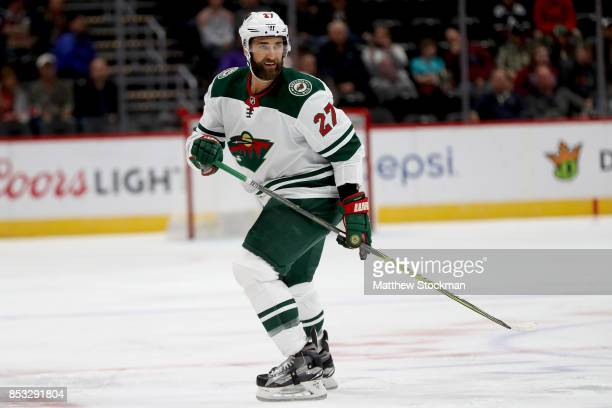 Kyle Quincey of the Minnesota Wild plays the Colorado Avalanche at the Pepsi Center on September 24 2017 in Denver Colorado