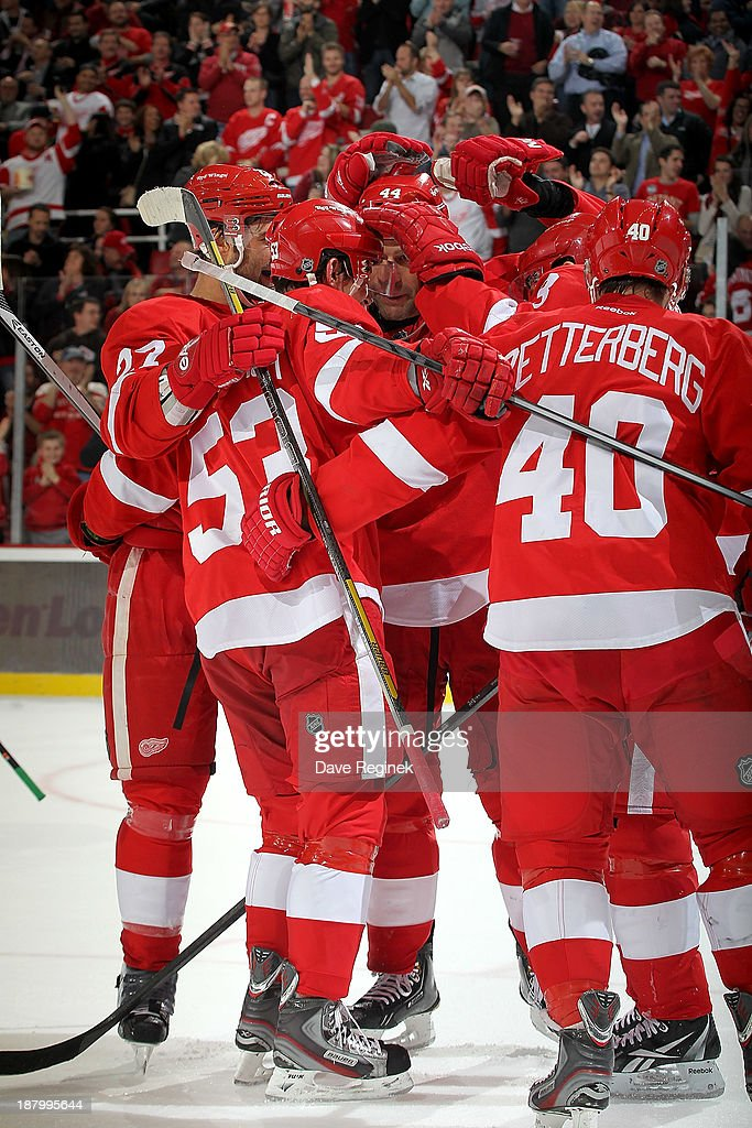 Kyle Quincey #27, Todd Bertuzzi #44, Pavel Datsyuk #13 and Henrik Zetterberg #40 of the Detroit Red Wings surround teammate Adam Almquist #53 after scoring his first NHL goal during an NHL game against the Dallas Stars at Joe Louis Arena on November 7, 2013 in Detroit, Michigan. Dallas defeated Detroit 4-3 in OT.