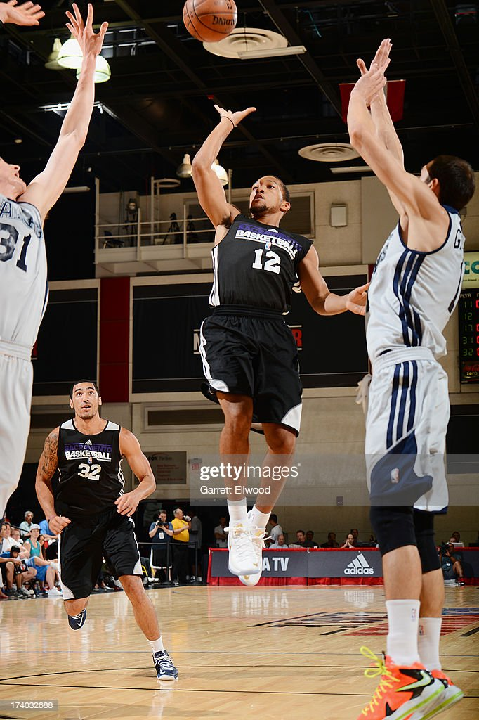 Kyle Randall #12 of the Sacramento Kings goes up for the shot versus the Atlanta Hawks during NBA Summer League on July 19, 2013 at the Cox Pavilion in Las Vegas, Nevada.