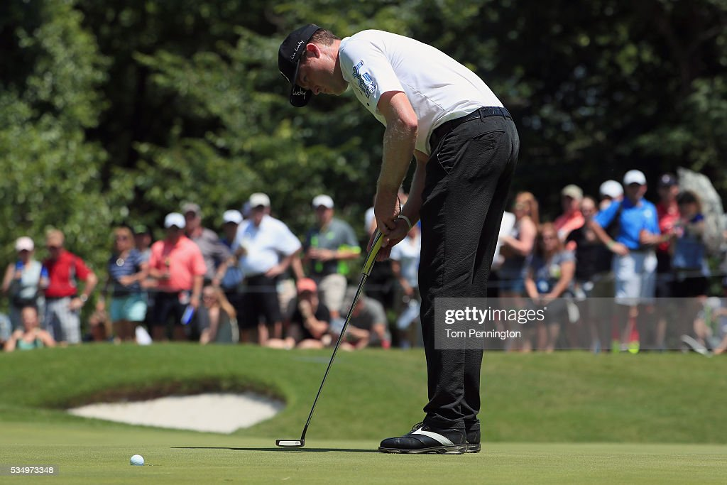 Kyle Reifers putts on the eighth green during the Third Round of the DEAN & DELUCA Invitational at Colonial Country Club on May 28, 2016 in Fort Worth, Texas.