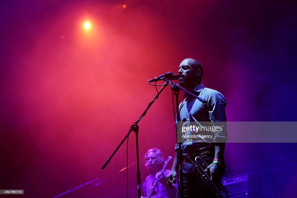 Kyle Resnick of Beirut performs on stage at Kucuk Ciftlik Park in Istanbul Turkey on August 17 2014