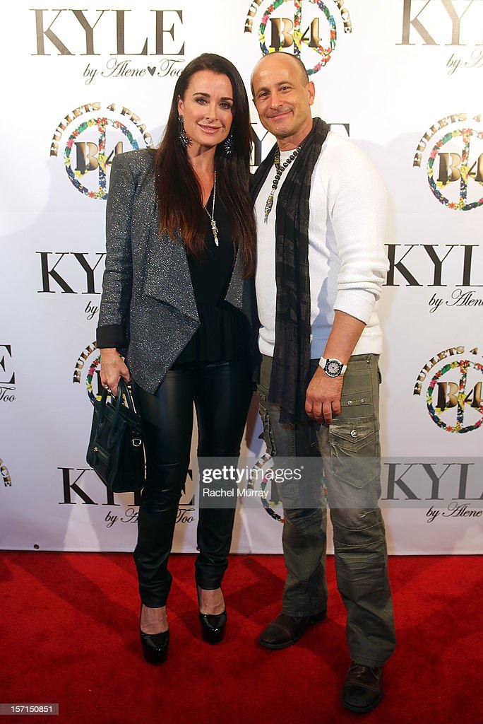 Kyle Richards (L) and Bullets 4 Peace designer and creator Rafi Anteby attends Kyle By Alene Too holiday shopping event featuring Bullets For Peace benefiting Safe Passage Charity on November 28, 2012 in Beverly Hills, California.