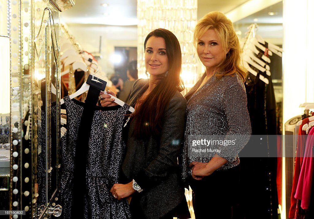Kyle Richards (L) and Kathy Hilton attend Kyle By Alene Too holiday shopping event featuring Bullets For Peace benefiting Safe Passage Charity on November 28, 2012 in Beverly Hills, California.