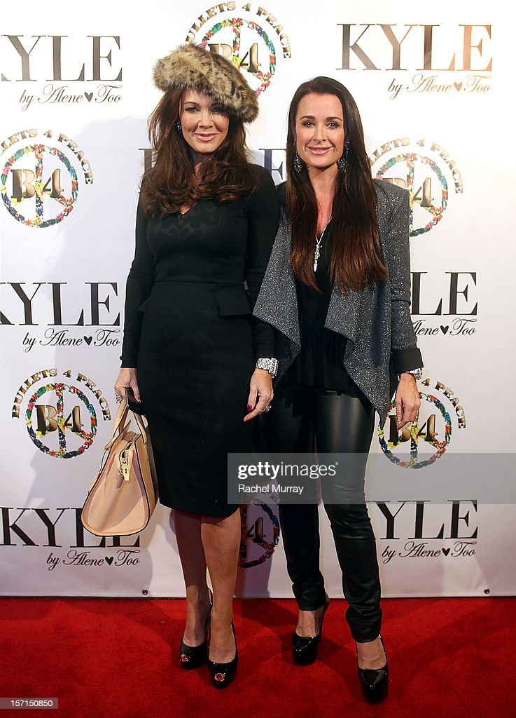 Kyle Richards and Lisa VanderPump attend Kyle By Alene Too holiday shopping event featuring Bullets For Peace benefiting Safe Passage Charity on November 28, 2012 in Beverly Hills, California.
