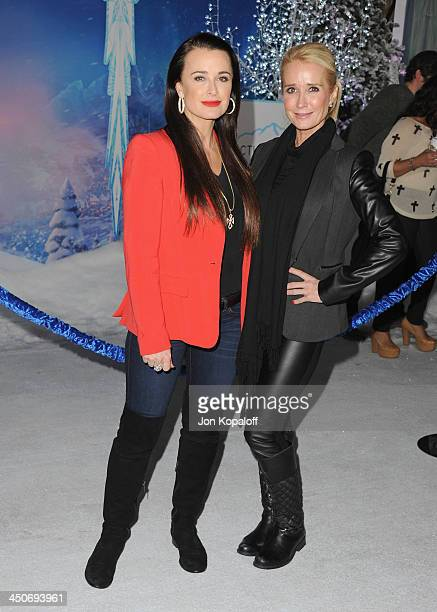 Kyle Richards and sister Kim Richards arrive at the Los Angeles Premiere 'Frozen' at the El Capitan Theatre on November 19 2013 in Hollywood...