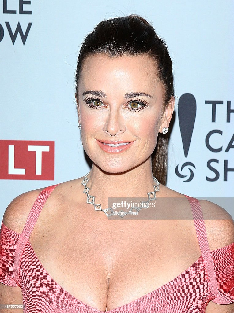 <a gi-track='captionPersonalityLinkClicked' href=/galleries/search?phrase=Kyle+Richards&family=editorial&specificpeople=2586434 ng-click='$event.stopPropagation()'>Kyle Richards</a> arrives at REVOLT and The National Cable and Telecommunications Association's (NCTA) celebration of cable party held at Belasco Theatre on April 30, 2014 in Los Angeles, California.