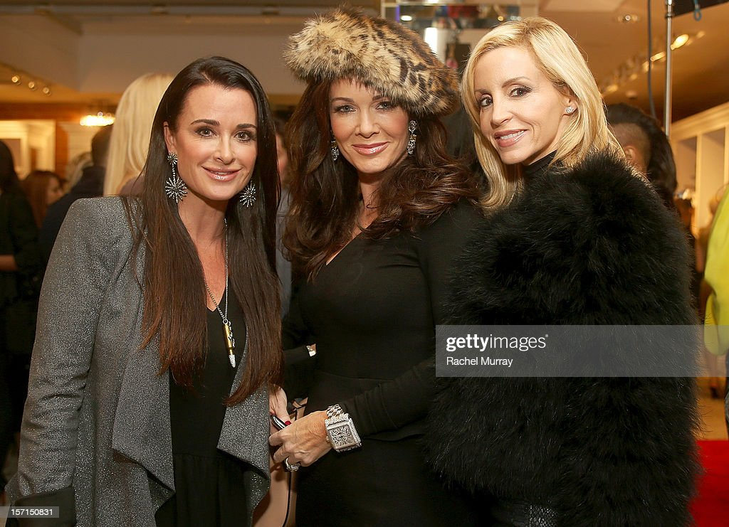 <a gi-track='captionPersonalityLinkClicked' href=/galleries/search?phrase=Kyle+Richards&family=editorial&specificpeople=2586434 ng-click='$event.stopPropagation()'>Kyle Richards</a>, Lisa VanderPump, and <a gi-track='captionPersonalityLinkClicked' href=/galleries/search?phrase=Camille+Grammer&family=editorial&specificpeople=213238 ng-click='$event.stopPropagation()'>Camille Grammer</a> attend Kyle By Alene Too holiday shopping event featuring Bullets For Peace benefiting Safe Passage Charity on November 28, 2012 in Beverly Hills, California.