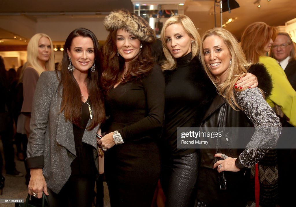 <a gi-track='captionPersonalityLinkClicked' href=/galleries/search?phrase=Kyle+Richards&family=editorial&specificpeople=2586434 ng-click='$event.stopPropagation()'>Kyle Richards</a>, Lisa VanderPump, <a gi-track='captionPersonalityLinkClicked' href=/galleries/search?phrase=Camille+Grammer&family=editorial&specificpeople=213238 ng-click='$event.stopPropagation()'>Camille Grammer</a>, and Debbie Weisman attend Kyle By Alene Too holiday shopping event featuring Bullets For Peace benefiting Safe Passage Charity on November 28, 2012 in Beverly Hills, California.