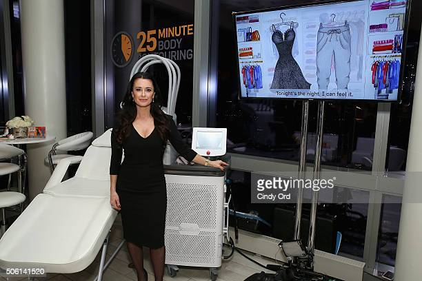 Kyle Richards shows off SculpSure the world's first lightbased laser body contouring treatment at the SculpSure launch event at Trump SoHo on January...