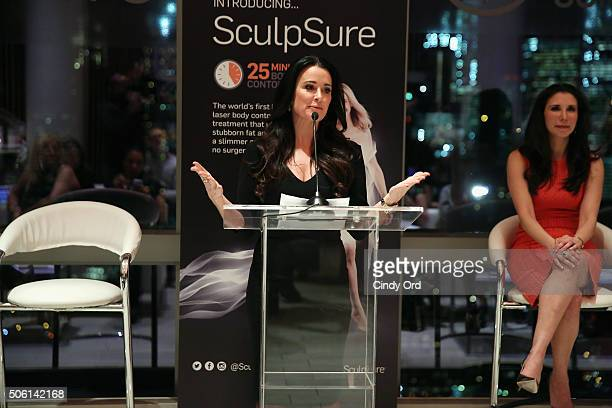 Kyle Richards speaks to editors about SculpSure the world's first lightbased laser body contouring treatment at the SculpSure launch event at Trump...