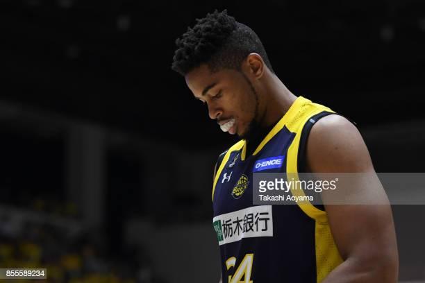 Kyle Richardson of the Tochigi Brex reacts during the BLeague game between Tochigi Brex and Seahorses Mikawa at Brex Arena Utsunomiya on September 29...