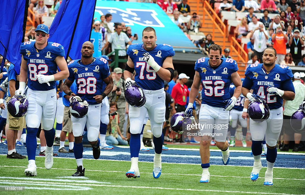 Kyle Rudolph #82, Adrian Peterson #28, Matt Kalil #75, Chad Greenway #52, and Jerome Felton #42 of the Minnesota Vikings and the NFC are introduced before the 2013 Pro Bowl against the American Football Conference team at Aloha Stadium on January 27, 2013 in Honolulu, Hawaii