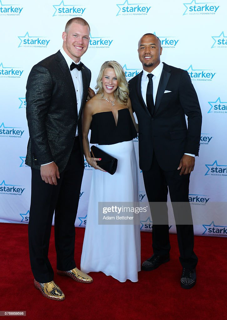 Kyle Rudolph and Michael Floyd walk the red carpet at the 2016 Starkey Hearing Foundation 'So the World May Hear' awards gala at the St Paul...