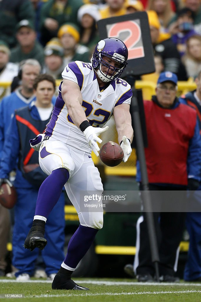 Kyle Rudolph #82 of the Minnesota Vikings catches a ball near the goal line during a game against the Green Bay Packers at Lambeau Field on December 2, 2012 in Green Bay, Wisconsin. The Packers defeated the Vikings 23-14.