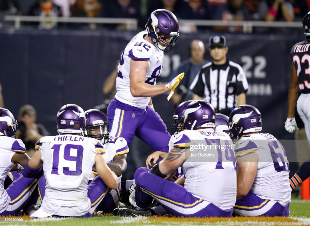 Kyle Rudolph #82 of the Minnesota Vikings celebrates after scoring against the Chicago Bears in the third quarter at Soldier Field on October 9, 2017 in Chicago, Illinois.