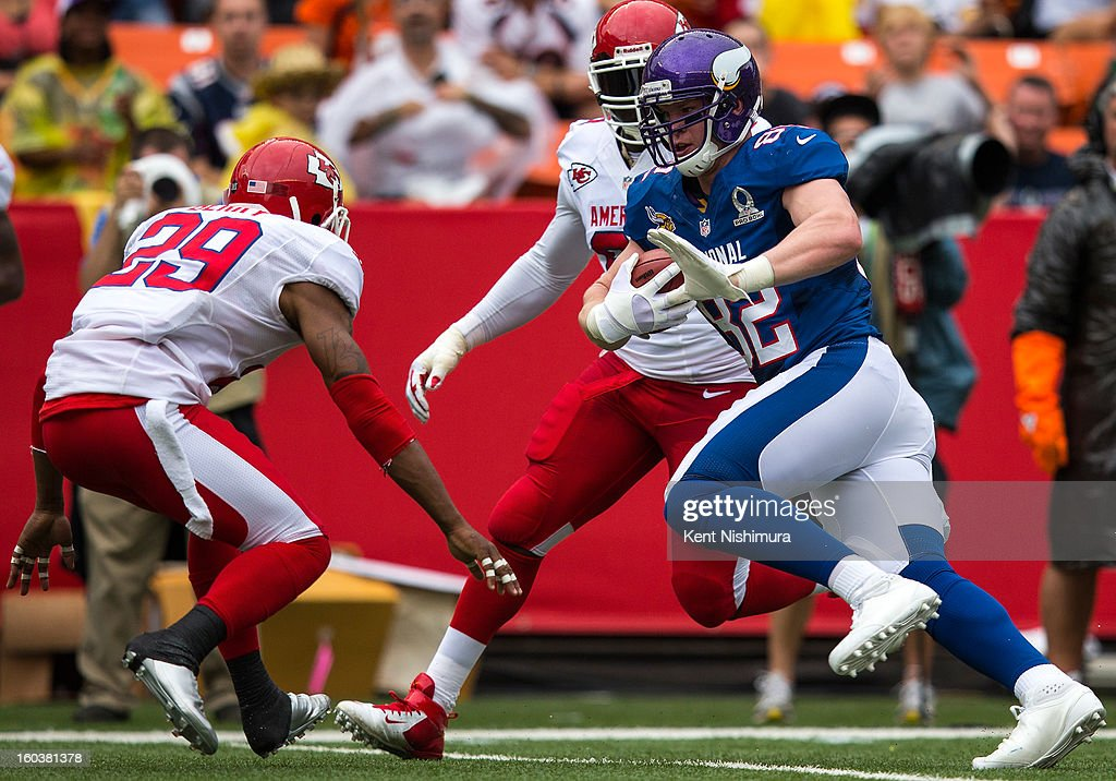 <a gi-track='captionPersonalityLinkClicked' href=/galleries/search?phrase=Kyle+Rudolph&family=editorial&specificpeople=5537859 ng-click='$event.stopPropagation()'>Kyle Rudolph</a> #82 of the NFC's Minnesota Vikings carries the ball against the AFC Team during the 2013 AFC-NFC Pro Bowl on January 27 , 2013 at Aloha Stadium in Honolulu, Hawaii.