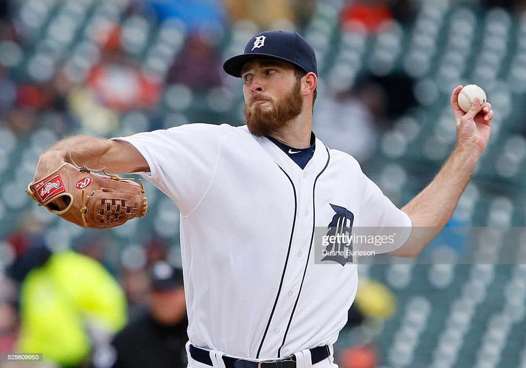 Kyle Ryan #56 of the Detroit Tigers pitches against the Oakland Athletics during the sixth inning at Comerica Park on April 28, 2016 in Detroit, Michigan. The Tigers defeated the Athletics 7-3.