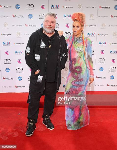 Kyle Sandilands and Imogen Anthony arrives for the 30th Annual ARIA Awards 2016 at The Star on November 23 2016 in Sydney Australia