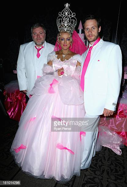 Kyle Sandilands Jackie O and Lee Henderson pose during Kyle Jackie O's Big Fat Gypsy Wedding at Curzon Hall Marsfield on August 31 2012 in Sydney...