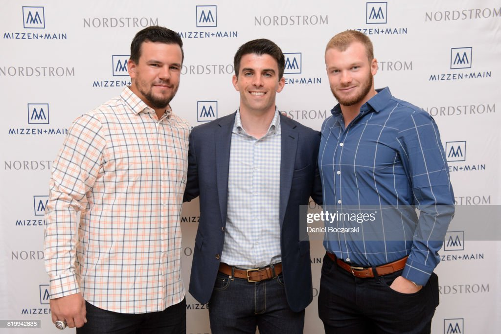 Kyle Schwarber, Mizzen + Main CEO Kevin Lavelle and Ian Happ attend Kyle Schwarber & Ian Happ for Mizzen+Main at Nordstrom Old Orchard on July 20, 2017 in Skokie, Illinois.