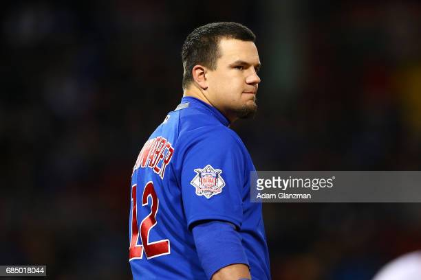 Kyle Schwarber of the Chicago Cubs looks on during a game against the Boston Red Sox at Fenway Park on April 30 2017 in Boston Massachusetts