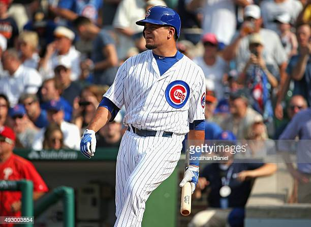Kyle Schwarber of the Chicago Cubs prepares to bat against the Philadelphia Phillies at Wrigley Field on July 24 2015 in Chicago Illinois The...