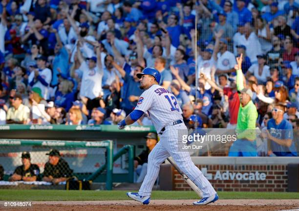Kyle Schwarber of the Chicago Cubs reacts after hitting a home run against the Pittsburgh Pirates during the fourth inning at Wrigley Field on July 8...