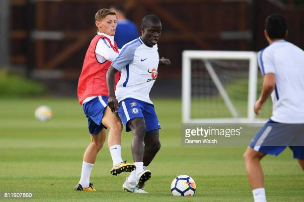 Kyle Scott and N'Golo Kante of Chelsea during a training session at Chelsea Training Ground on July 10 2017 in Cobham England