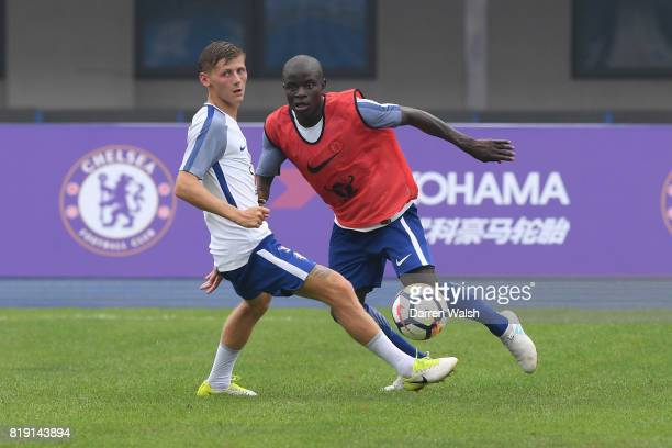 Kyle Scott and N'Golo Kante of Chelsea during a training session at the AOTI Stadium on July 20 2017 in Beijing China