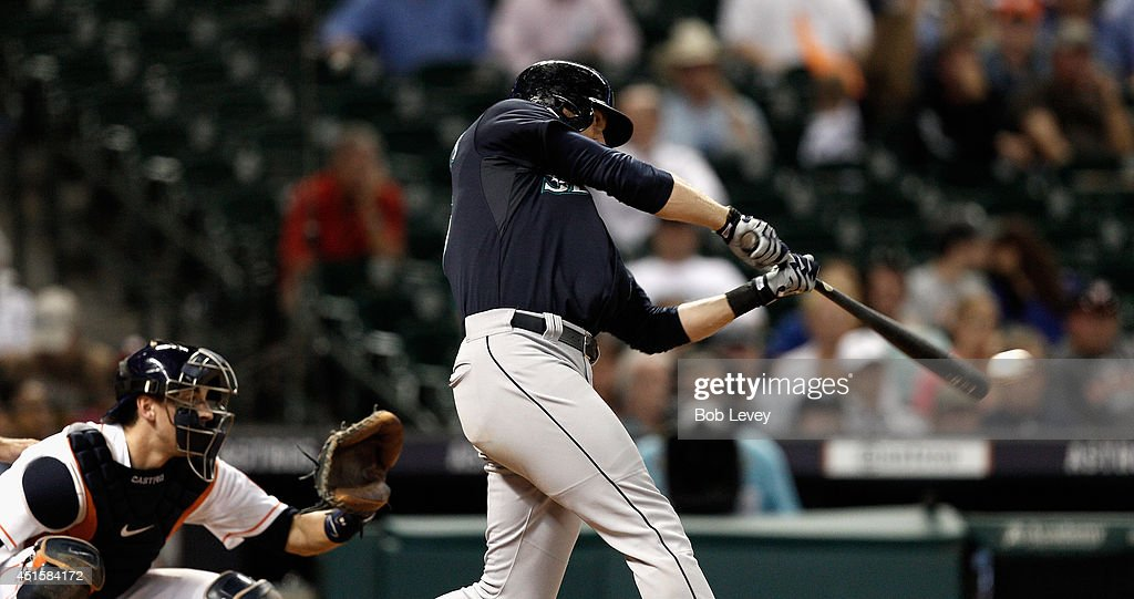 Kyle Seager #15 of the Seattle Mariners doubles in the sixth inning against the Houston Astros at Minute Maid Park on July 1, 2014 in Houston, Texas.