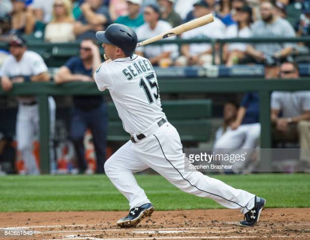 Kyle Seager of the Seattle Mariners hits a RBIsingle off of starting pitcher Dallas Keuchel of the Houston Astros that scored Jean Segura of the...