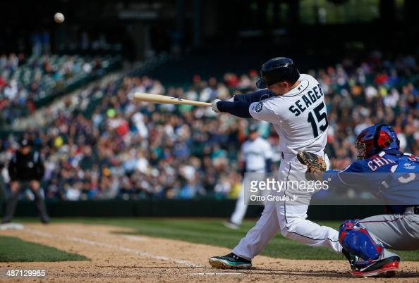 Kyle Seager of the Seattle Mariners hits a threerun home run in the eighth inning against the Texas Rangers at Safeco Field on April 27 2014 in...