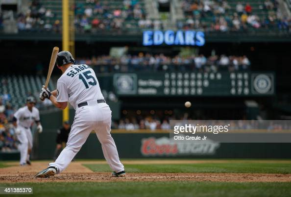Kyle Seager of the Seattle Mariners hits this pitch for a tworun double in the seventh inning against the San Diego Padres at Safeco Field on June 17...