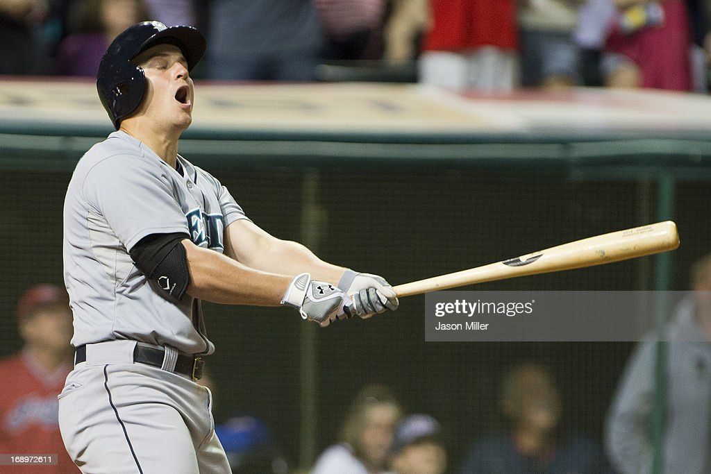 <a gi-track='captionPersonalityLinkClicked' href=/galleries/search?phrase=Kyle+Seager&family=editorial&specificpeople=7682389 ng-click='$event.stopPropagation()'>Kyle Seager</a> #15 of the Seattle Mariners reacts to flying out to center field in the ninth inning against the Cleveland Indians at Progressive Field on May 17, 2013 in Cleveland, Ohio.