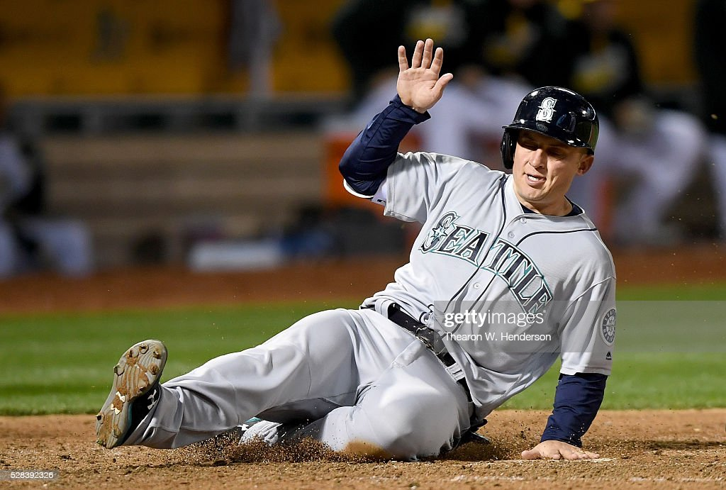 Kyle Seager #15 of the Seattle Mariners scores against the Oakland Athletics in the top of the six inning at O.co Coliseum on May 2, 2016 in Oakland, California.